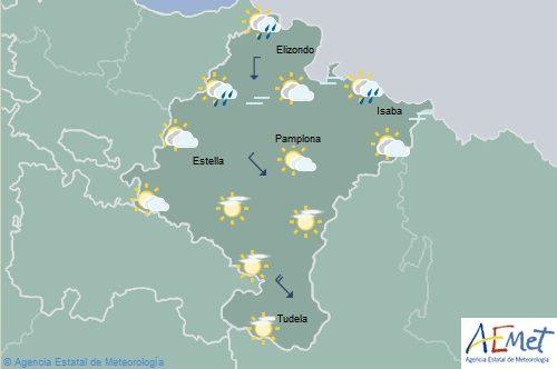 En Navarra cubierto con lluvias débiles en Vertiente Cantábrica