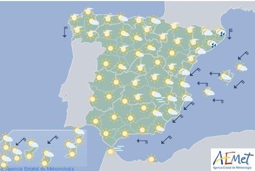Hoy en España, temperaturas significativamente altas en zonas del interior deAndalucía