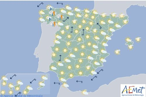 Hoy en España, chubascos o tormentas en el noroeste