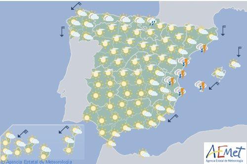 Hoy en España, chubascos y/o tormentas en Cataluña, Aragón y Valencia