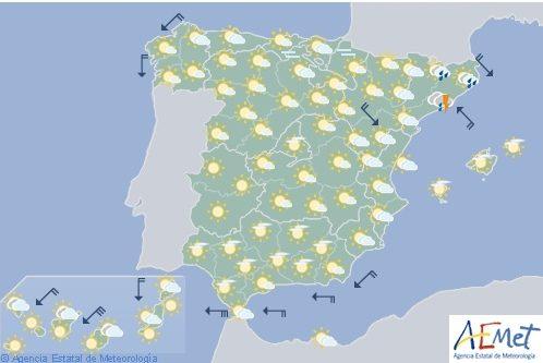 Hoy en España, chubascos y tormentas en el litoral y Pirineo catalán