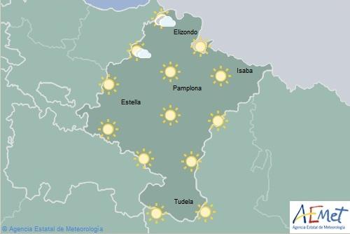En Navarra cielo despejado, temperaturas máximas en aumento