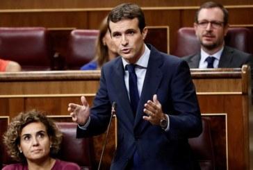 """Casado pide a Sánchez """"libere"""" a España de su """"lastre"""" y convoque elecciones"""