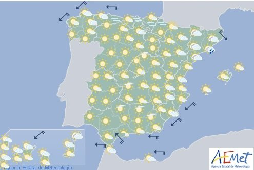 Hoy en España, nuboso en Cataluña con temperaturas altas en Andalucía