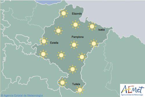 En Navarra cielo despejado con temperaturas máximas en aumento