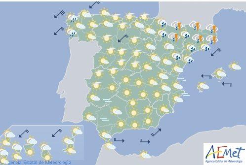 Hoy en España, chubascos y tormentas en el cuadrante nordeste