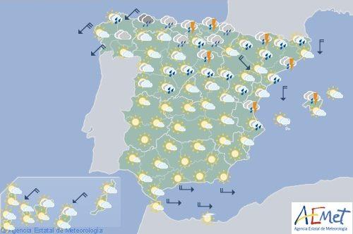 Hoy en España,  chubascos y tormentas en el Cantábricooriental, Cataluña, Baleares y Sistema Ibérico