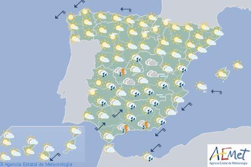 Hoy en España, chubascos y tormentas localmente fuertes el sudeste y Andalucía