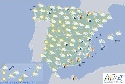 Hoy en España, tormentas y chubascos en Melilla, Ibiza, Navarra y Aragón