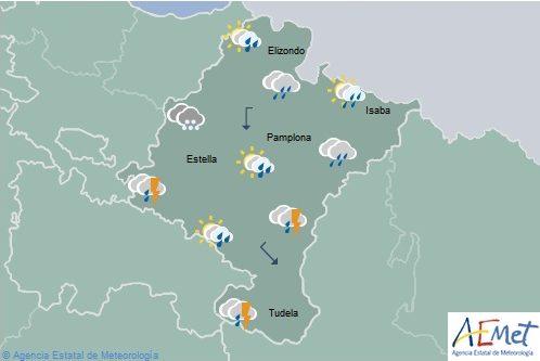 Chubascos y tormentas en la Ribera de Navarra localmente fuertes en el norte