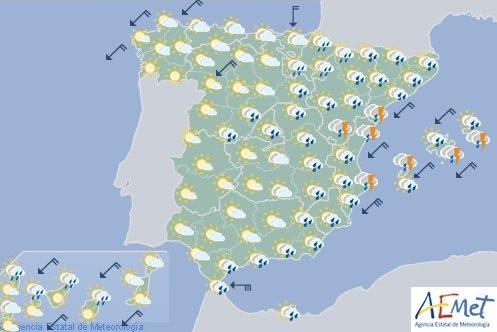 Hoy en España, intensas lluvias en este peninsular, más suaves en el resto