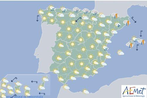 Hoy en España, lluvia en Galicia y Cantábrico y ascenso térmico en interior