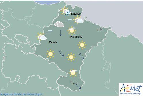 Cubierto en el noroeste de Navarra, poco nuboso o despejado en el resto