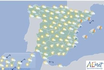 Hoy en España ascenso de temperaturas, chubascos y tormentas en el Mediterráneo