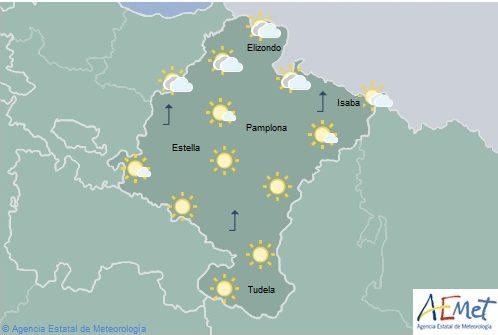 Intervalos nubosos, suben las temperaturas máximas en Navarra