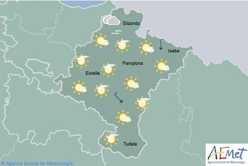 Descenso de las temperaturas máximas, notable en la mitad norte de Navarra