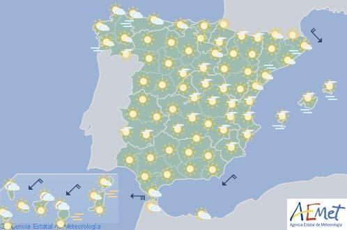 Hoy en España, temperaturas altas para la época del año