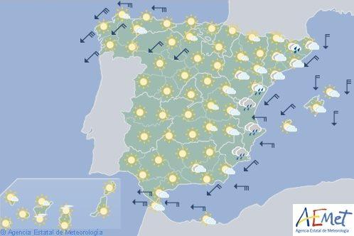 Hoy en España, chubascos en el interior, sureste y Levante