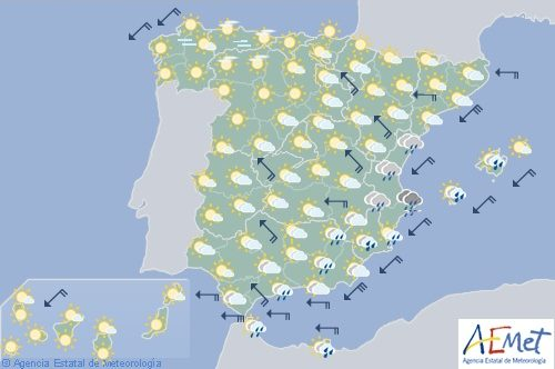 Hoy en España levante en Cádiz con aumento de temperaturas en el tercio norte