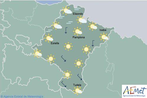 En Navarra poco nuboso o despejado con nubosidad de evolución