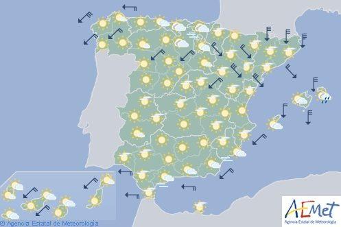 Hoy en España, vientos fuertes en el nordeste peninsular y descenso de las temperaturas