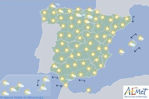 Hoy en España, tiempo estable y temperaturas diurnas en ascenso