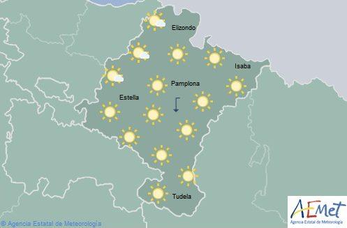 En Navarra cielo poco nuboso o despejado