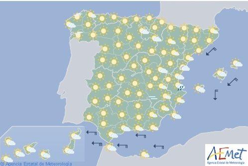 Tiempo estable en la mayor parte de España y bajada de temperaturas en Galicia