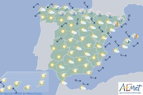 Hoy en España, posibilidad de precipitaciones fuertes en el noreste, viento fuerte en Ampurdán y Ebro