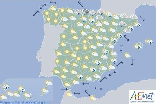 Hoy en España, precipitaciones en el área mediterránea, nieve a partir de 1.800 metros