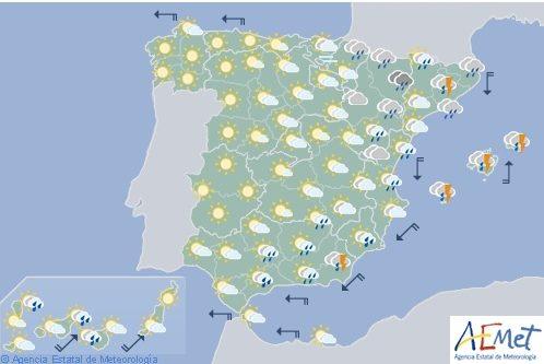 Hoy en España, probabilidad de precipitaciones en el área mediterránea