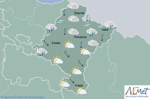 En Navarra nuboso o cubierto con lluvias y chubascos en el norte