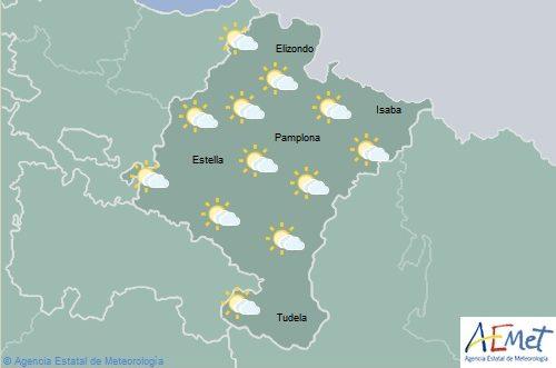 Cielo tendiendo a muy nuboso con lluvias débiles al este de Navarra