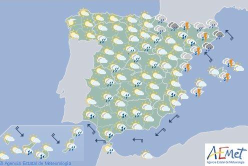Hoy en España, lluvias fuertes en Aragón, Cataluña, Comunidad Valenciana y Andalucía