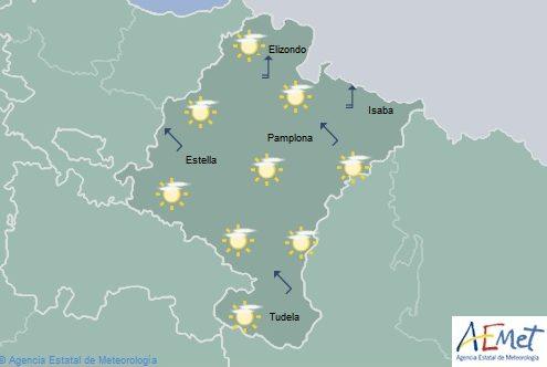 Poco nuboso en Navarra con temperaturas máximas en aumento