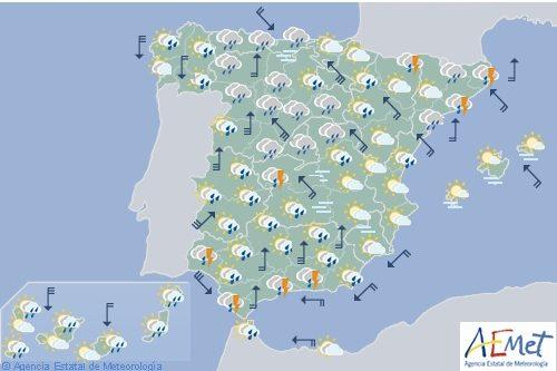 Hoy en España, precipitaciones en el tercio norte, viento fuerte y descenso de temperaturas
