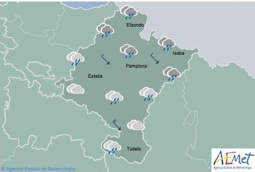 En Navarra cielo cubierto, lluvias más intensas en el norte