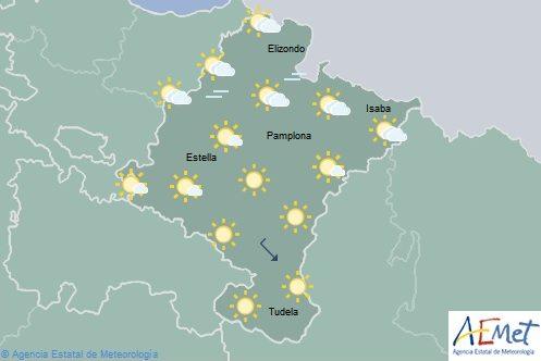 Cielo poco nuboso o despejado en Navarra, máximas en aumento