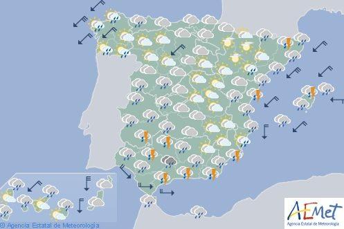 Las fuertes lluvias ponen en alerta a 18 provincias, Castellón en rojo