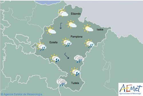 En Navarra precipitaciones débiles más probables e intensas en el sureste