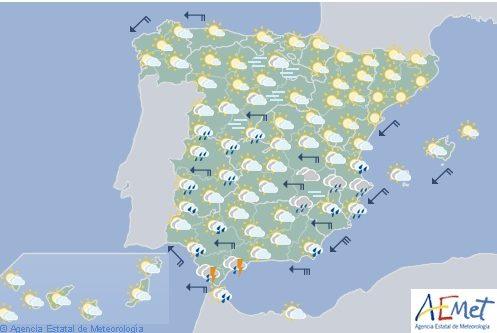 Hoy en España, precipitaciones en Levante, Almería, Málaga, Estrecho y Extemadura
