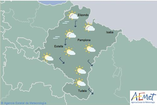 Hoy en Navarra, nubosidad en disminución, viento flojo y temperaturas sin cambios