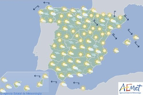 Hoy en España, predominio del tiempo estable y los cielos poconubosos o despejados