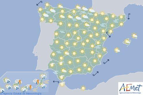 Hoy en España, lluvias fuertes en Canarias y temperaturas estables en la Península