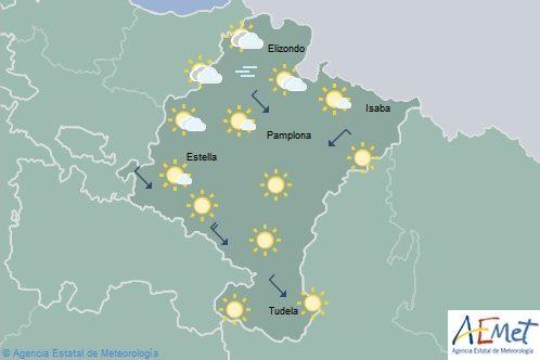 Cielo poco nuboso o despejado en Navarra con temperaturas en ascenso