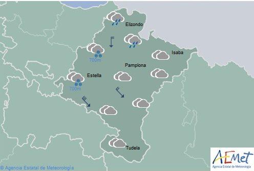 Cubierto en Navarra con chubascos, cota de nieve por encima de los 700 metros