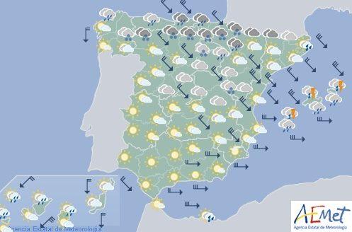 Hoy en España, precipitaciones en Cantábrico y Baleares, nieve en el norte entre 800 y 1400 m.