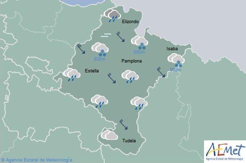 Nuboso con precipitaciones en Navarra, cota de nieve entre 800 y 1.200 metros