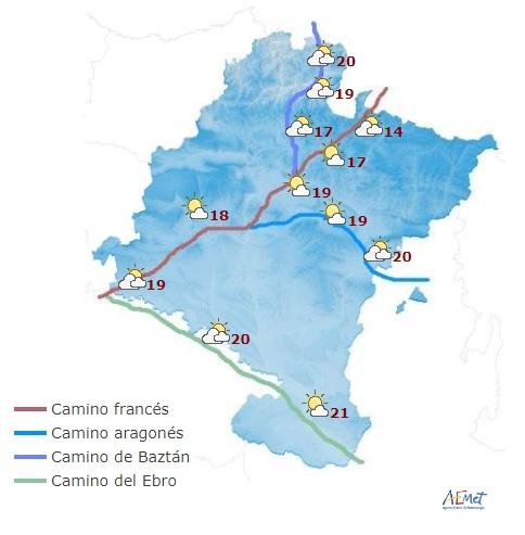 En Navarra cielo nuboso, probabilidad de lluvias y descenso de temperaturas máximas
