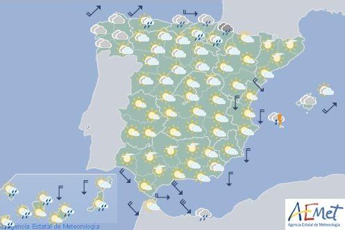 Hoy en España, chubascos que podrían ser localmente fuertes en Baleares